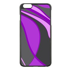 Purple Elegant Lines Apple Iphone 6 Plus/6s Plus Black Enamel Case by Valentinaart