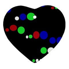 Colorful Dots Ornament (heart)  by Valentinaart