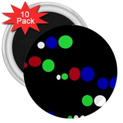 Colorful Dots 3  Magnets (10 Pack)  by Valentinaart