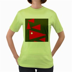 Decorative Abstraction Women s Green T Shirt by Valentinaart