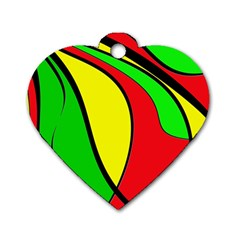 Colors Of Jamaica Dog Tag Heart (Two Sides) by Valentinaart