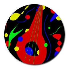 Abstract Guitar  Round Mousepads by Valentinaart
