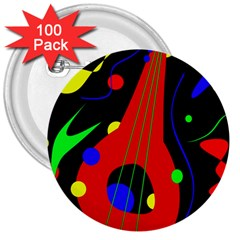 Abstract Guitar  3  Buttons (100 Pack)  by Valentinaart