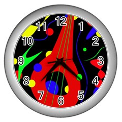 Abstract Guitar  Wall Clocks (silver)  by Valentinaart