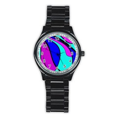 Purple And Blue Stainless Steel Round Watch by Valentinaart
