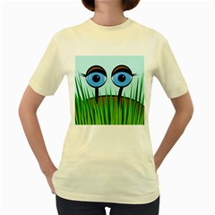 Snail Women s Yellow T Shirt by Valentinaart