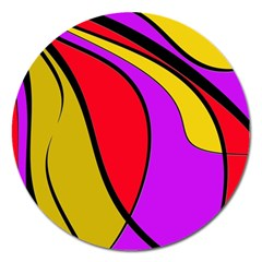 Colorful Lines Magnet 5  (round) by Valentinaart