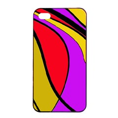 Colorful Lines Apple Iphone 4/4s Seamless Case (black) by Valentinaart
