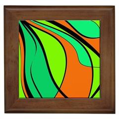Green And Orange Framed Tiles by Valentinaart