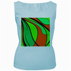 Green And Orange Women s Baby Blue Tank Top by Valentinaart