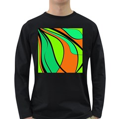 Green And Orange Long Sleeve Dark T Shirts by Valentinaart