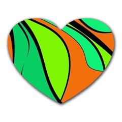 Green And Orange Heart Mousepads by Valentinaart