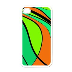 Green And Orange Apple Iphone 4 Case (white) by Valentinaart