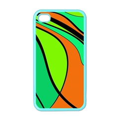 Green And Orange Apple Iphone 4 Case (color) by Valentinaart