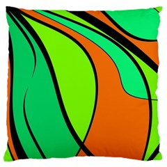 Green And Orange Large Cushion Case (one Side) by Valentinaart