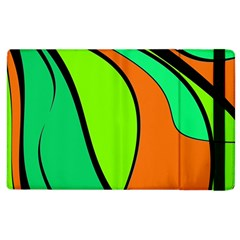 Green and orange Apple iPad 2 Flip Case by Valentinaart