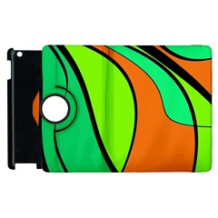 Green And Orange Apple Ipad 2 Flip 360 Case by Valentinaart