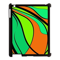 Green And Orange Apple Ipad 3/4 Case (black) by Valentinaart
