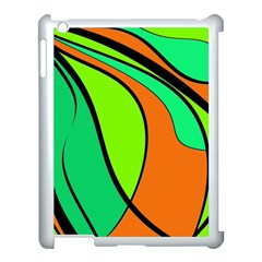 Green And Orange Apple Ipad 3/4 Case (white) by Valentinaart