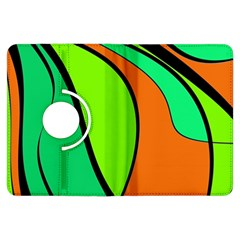 Green and orange Kindle Fire HDX Flip 360 Case by Valentinaart