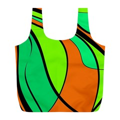 Green And Orange Full Print Recycle Bags (l)  by Valentinaart