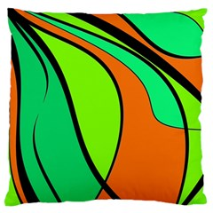 Green And Orange Large Flano Cushion Case (two Sides) by Valentinaart