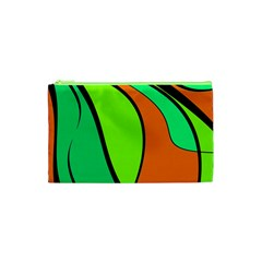 Green And Orange Cosmetic Bag (xs) by Valentinaart