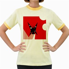 Black Butterfly  Women s Fitted Ringer T Shirts by Valentinaart