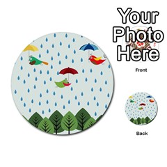 Birds In The Rain Multi Purpose Cards (round)  by justynapszczolka