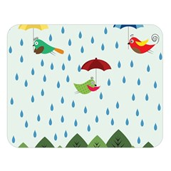 Birds In The Rain Double Sided Flano Blanket (large)  by justynapszczolka