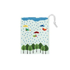 Birds in the rain Drawstring Pouches (XS)  by justynapszczolka