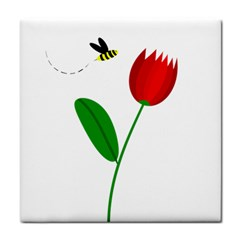 Red Tulip And Bee Tile Coasters by Valentinaart