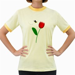 Red Tulip And Bee Women s Fitted Ringer T Shirts by Valentinaart