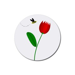 Red tulip and bee Rubber Coaster (Round)  by Valentinaart