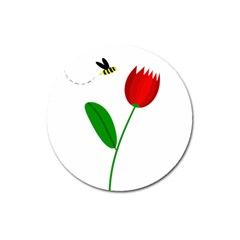 Red Tulip And Bee Magnet 3  (round)