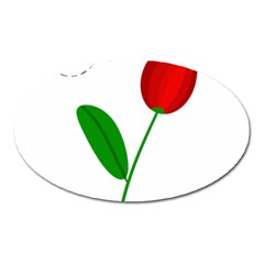 Red Tulip And Bee Oval Magnet by Valentinaart
