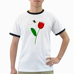Red Tulip And Bee Ringer T Shirts by Valentinaart