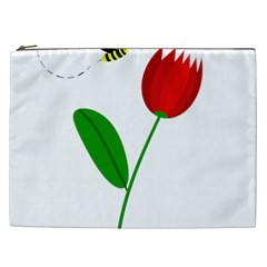 Red Tulip And Bee Cosmetic Bag (xxl)  by Valentinaart