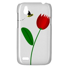 Red tulip and bee HTC Desire V (T328W) Hardshell Case