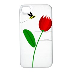 Red Tulip And Bee Apple Iphone 4/4s Hardshell Case With Stand by Valentinaart