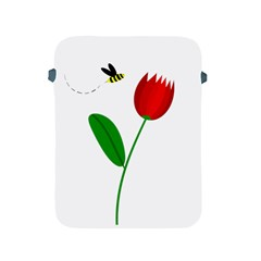Red Tulip And Bee Apple Ipad 2/3/4 Protective Soft Cases by Valentinaart