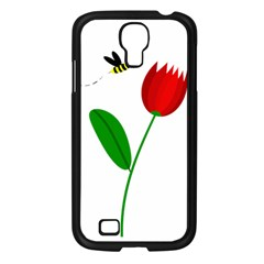 Red Tulip And Bee Samsung Galaxy S4 I9500/ I9505 Case (black) by Valentinaart