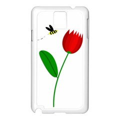 Red Tulip And Bee Samsung Galaxy Note 3 N9005 Case (white) by Valentinaart