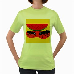 Ants And Watermelon  Women s Green T Shirt by Valentinaart
