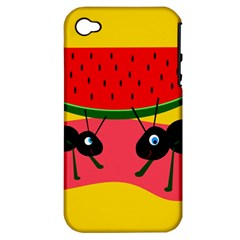 Ants And Watermelon  Apple Iphone 4/4s Hardshell Case (pc+silicone) by Valentinaart