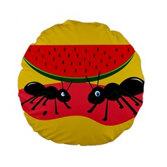Ants And Watermelon  Standard 15  Premium Flano Round Cushions by Valentinaart