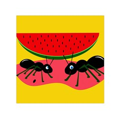 Ants And Watermelon  Small Satin Scarf (square) by Valentinaart