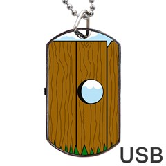 Over The Fence  Dog Tag Usb Flash (one Side) by Valentinaart