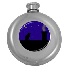 Cat On The Roof  Round Hip Flask (5 Oz) by Valentinaart