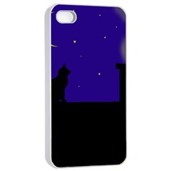 Cat On The Roof  Apple Iphone 4/4s Seamless Case (white) by Valentinaart